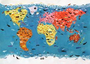 World map of wild animals