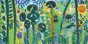Lush multicolored jungle