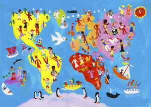 Illustrated world map of people enjoying having fun