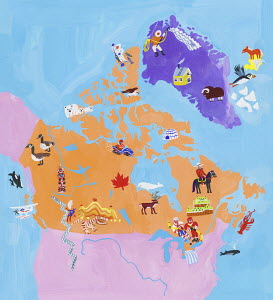 Illustrated map of Canada and Greenland