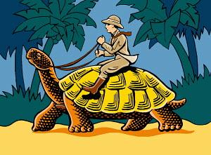 Man on safari riding tortoise