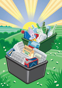 Plastic, cans, glass, paper and cardboard in recycling bins in countryside