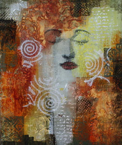Mysterious face of woman in abstract pattern