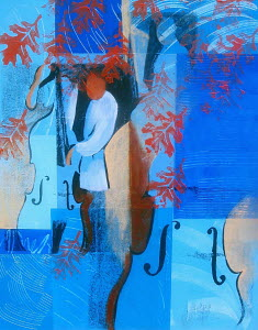 Abstract of man playing blues on double bass