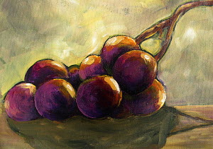 Still life of bunch of purple grapes