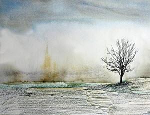 Bare tree in snowy field in winter
