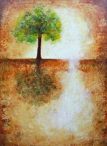Single tree in abstract landscape