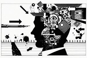 Complex pattern of cogs, puzzles, circuit boards and eyeballs inside of businessman's head