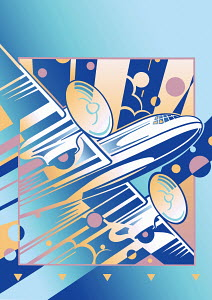 Flying art deco old-fashioned propeller airplane
