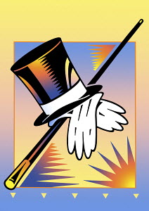 Old-fashioned top hat, white gloves and cane