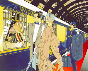 Glamorous 1920s man and woman boarding train with porter carrying luggage