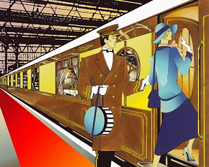 Porter assisting glamorous 1920s woman boarding train in train station