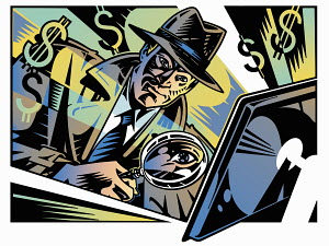 Retro detective investigating computer crime with magnifying glass