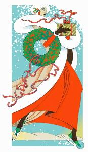 Glamorous woman ice skating carrying Christmas gift and wreath