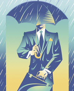 Smart businessman sheltered from rain under umbrella