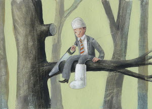 Foolish injured businessman sawing through the branch he is sitting on