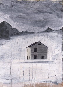 Remote isolated house in winter landscape