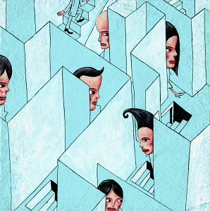 Businesspeople trapped in three dimensional maze