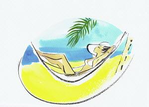 Beautiful woman sunbathing in hammock on tropical beach