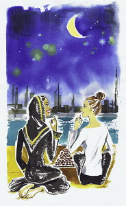 Women friends sitting on waterfront in Dubai chatting and eating dates