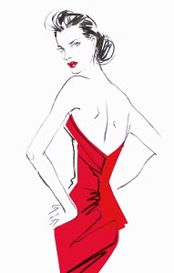 Rear view of beautiful woman in backless red dress looking over shoulder