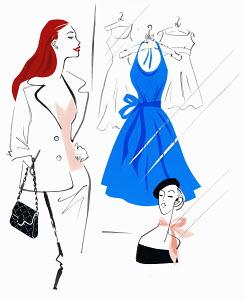 Beautiful woman shopping admiring blue dress in shop window