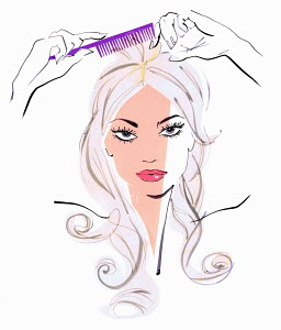 Close up of beautiful woman combing hair