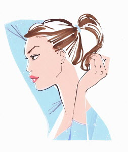Close up of beautiful woman putting hair in ponytail