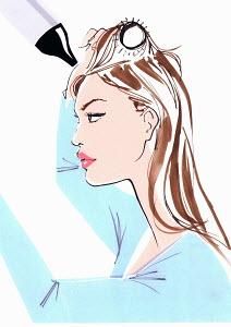 Close up of beautiful woman brushing and drying hair