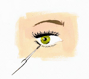 Close up woman applying eye liner