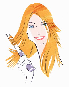 Close up of beautiful woman straightening hair using hair straighteners