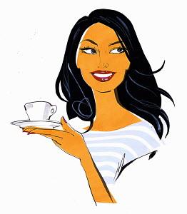 Close up beautiful woman holding teacup and saucer