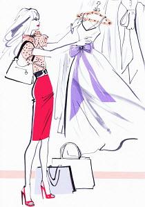 Beautiful woman shopping admiring evening gown