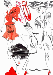 Montage of catwalk fashion models