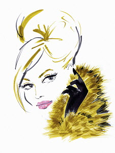 Glamorous blonde woman wearing fur
