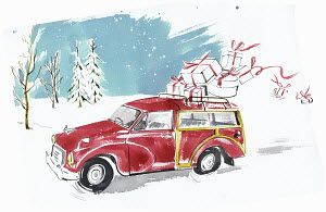Man hurrying in old-fashioned car in snow with Christmas gifts falling off roof