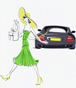 Happy elegant young woman carrying shopping from expensive car