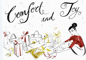 Christmas comfort and joy text with woman surrounded by gifts and trying on new shoes