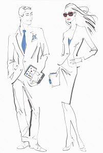Trendy businessman and businesswoman