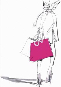 Woman handcuffed to shopping bag