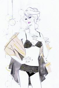 Beautiful woman wearing black underwear