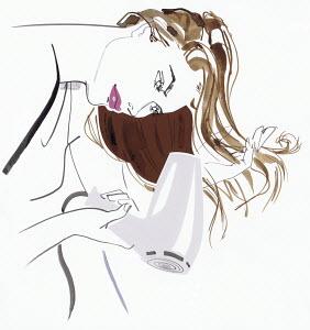 Beautiful woman blow drying long hair