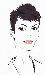Smiling confident woman with short dark hair