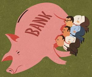 Greedy businessmen feeding off piggy bank