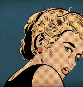 Nervous woman looking over shoulder