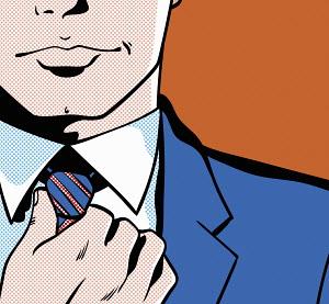 Close up of handsome man adjusting tie