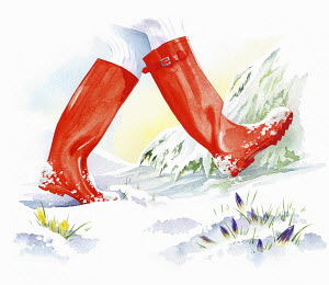 Red wellingtons walking though snow