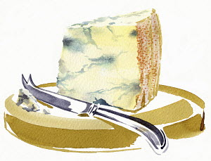 Stilton cheese on cheeseboard with knife