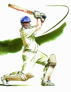 Cricket batsman swinging cricket bat