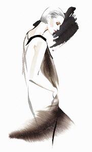 Elegant woman wearing retro 1920s flapper dress